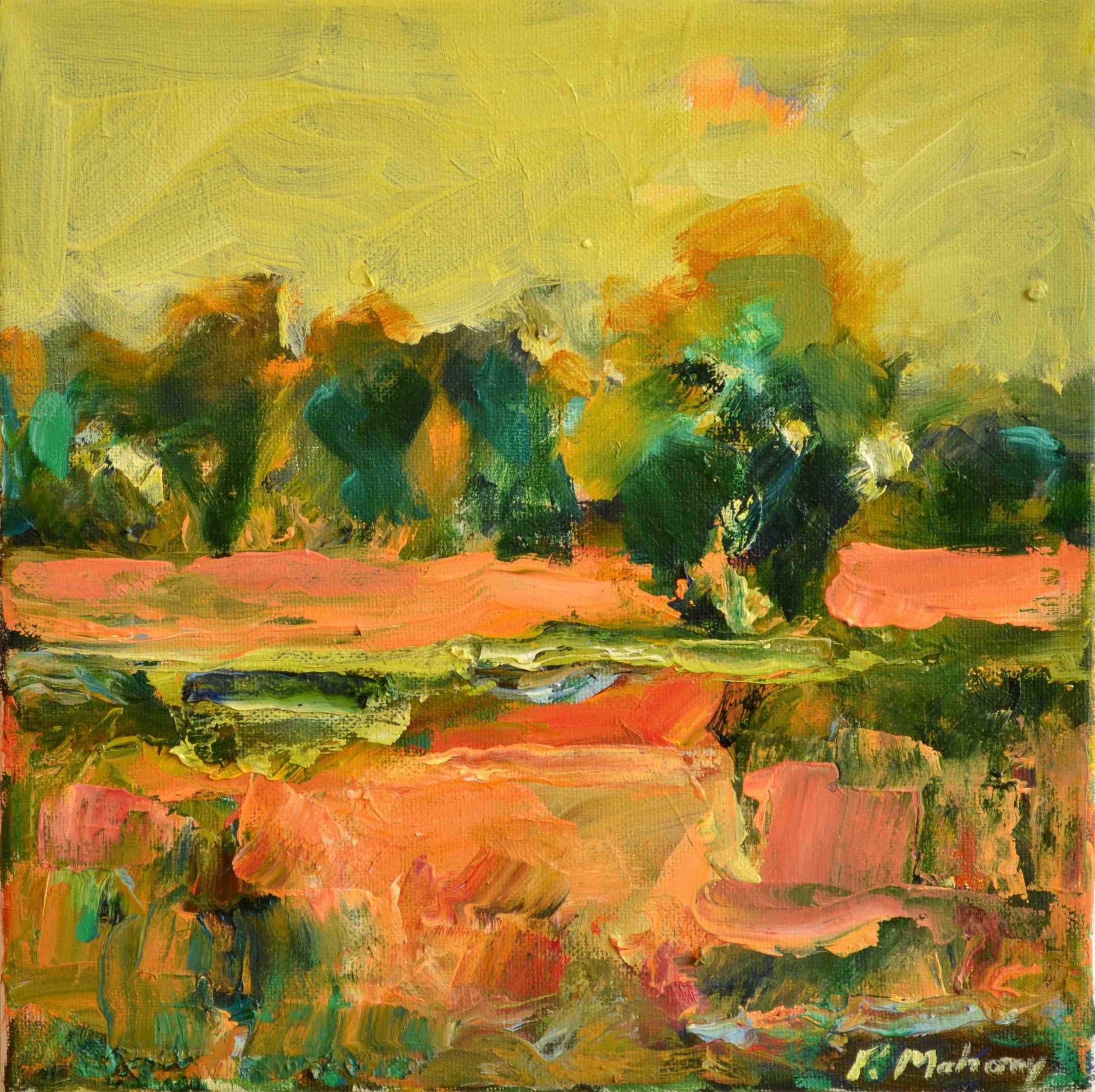 """Pat Mahony - Yellow Sky - 2020 - Oil on Canvas - 10"""" x 10"""""""