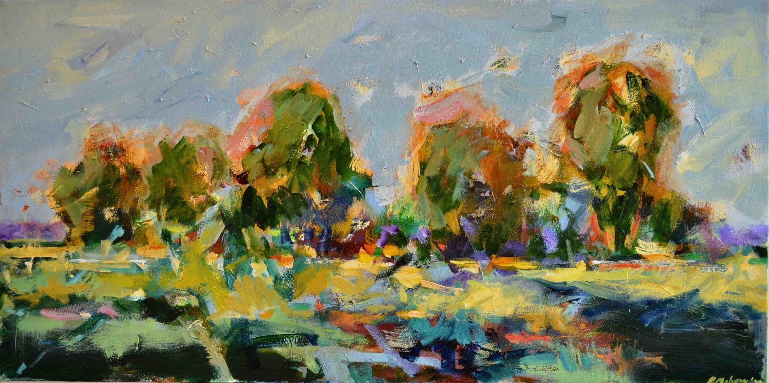 """Pat Mahony - Yolo Grove - 2020 - Oil on Canvas - 18"""" x 36"""""""