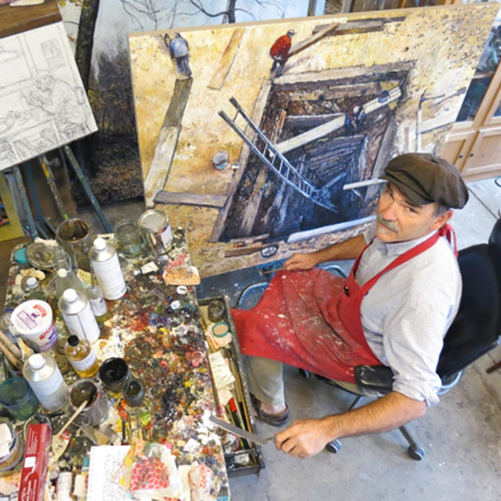 Chester arnold painter in studio looking up