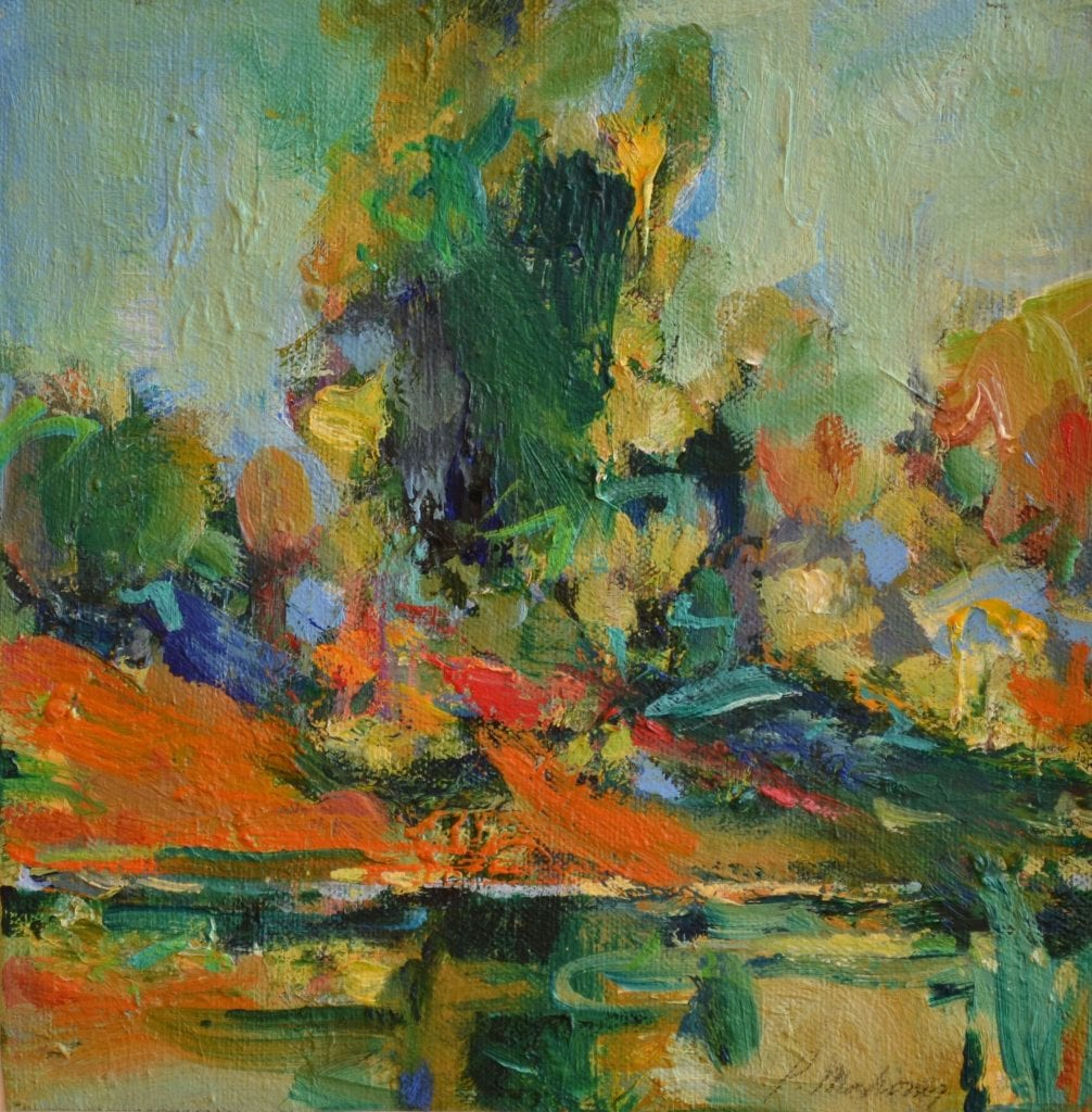 "Pat Mahony - Red Bank - 2020 - Oil on Canvas - 9"" x 9"""