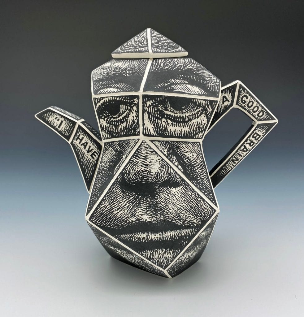 "Chris Theiss - Drawing Comparisons - 2020 - Cast Porcelain, Glaze, Sgraffito - 5.5"" x 5.5"" x 2.75"""