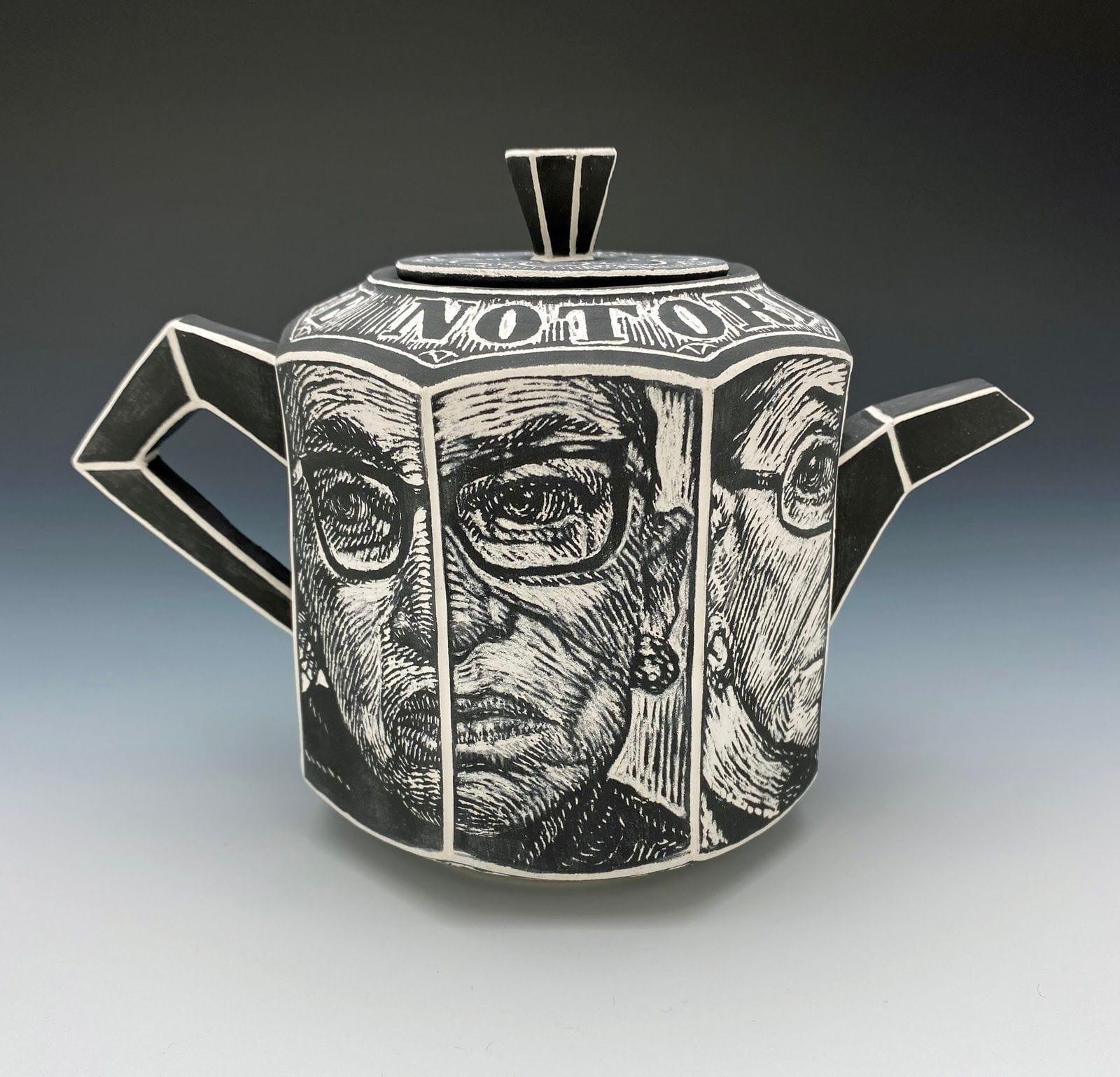 "Chris Theiss - One Of A Kind - 2020 - Cast Porcelain, Glaze, Sgraffito - 5"" x 6.5"" x 3.75"""