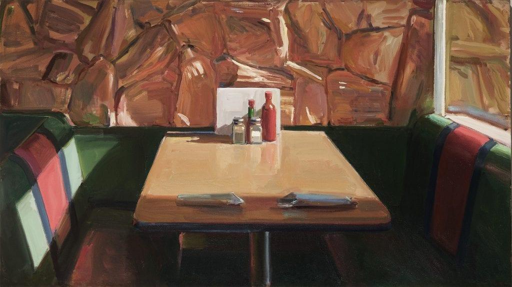 """Boyd Gavin - Empty Booth - 2013 - Oil on Canvas - 37.5"""" x 66"""""""