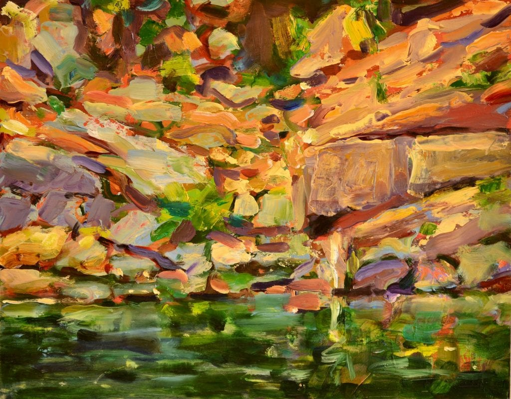 "Pat Mahony - Rockfall Meeting River - 2020 - Oil on Canvas - 11"" x 14"""