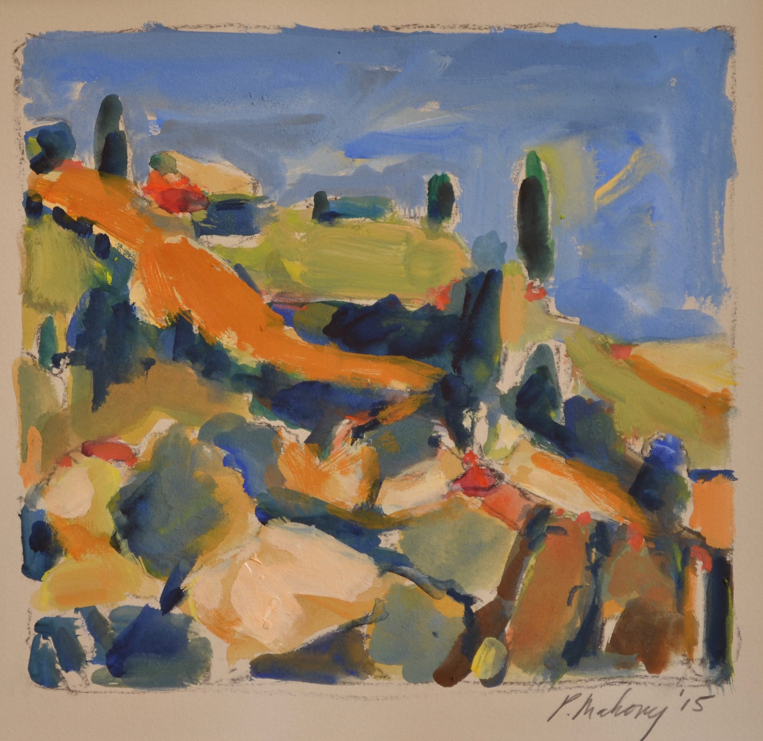 "Pat Mahony - Tuscany View - 2020 - Gouache on Paper - 8"" x 9"""