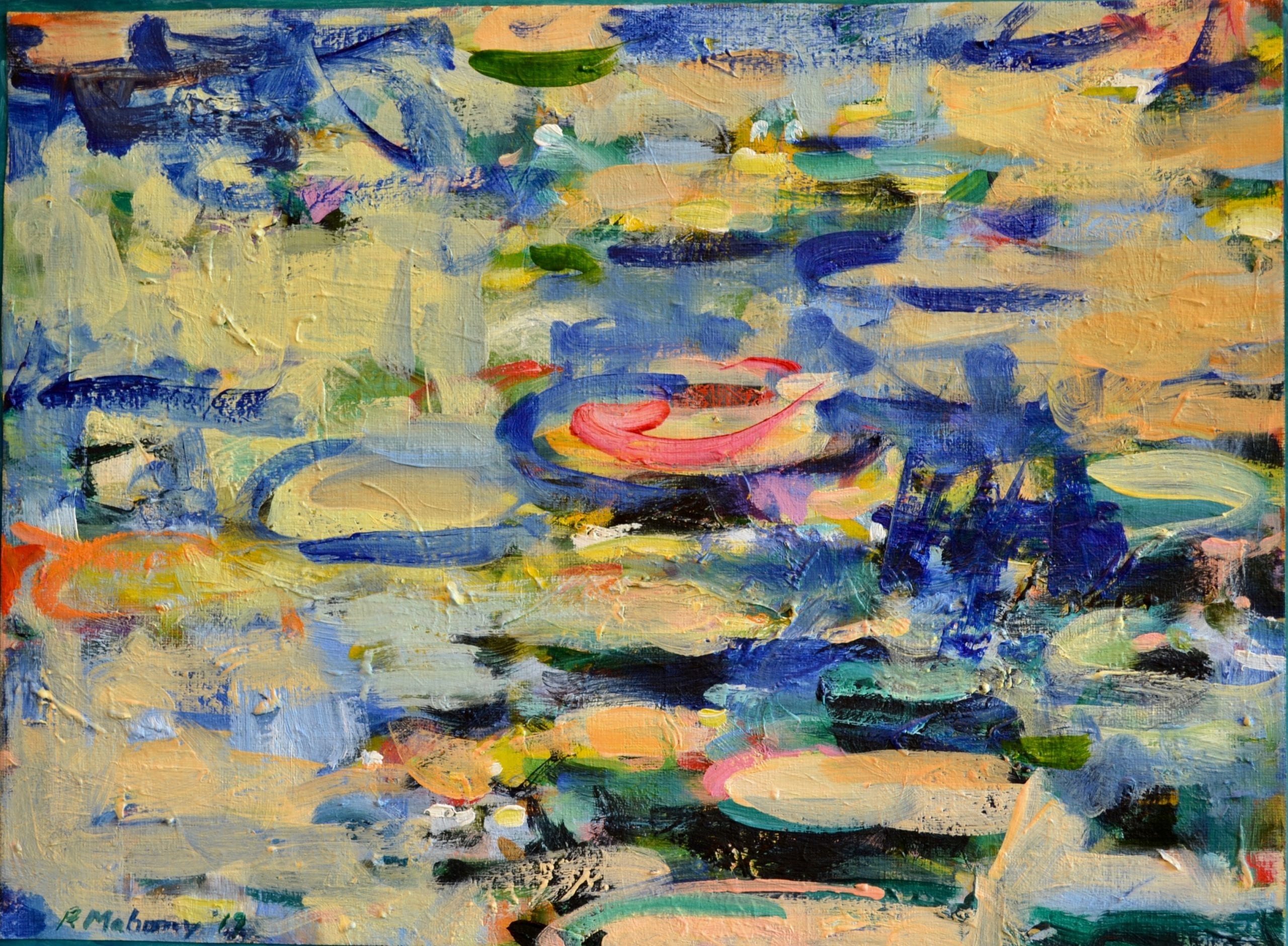 """Pat Mahony - Lil Pads - Pond - 2020 - Oil on Canvas - 12"""" x 16"""""""