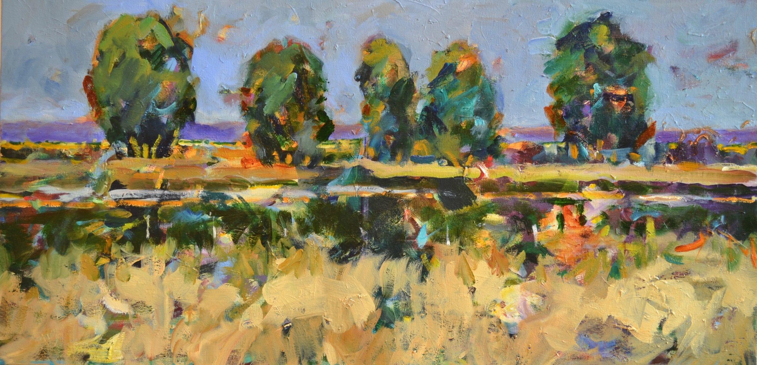 "Pat Mahony - Long Shadow - 2020 - Oil on Canvas - 18"" x 36"""