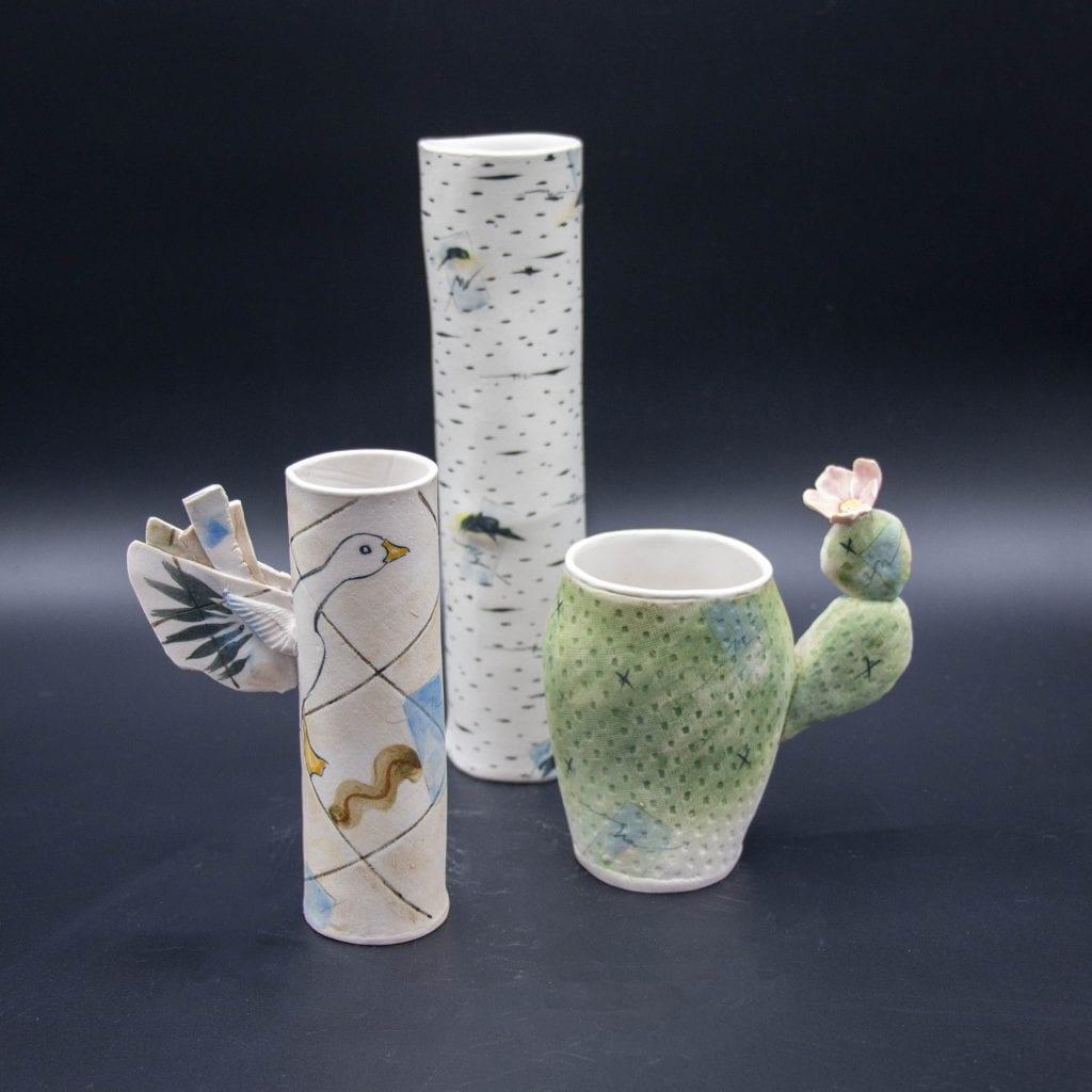 Gail Ritchie - 2020 - Birch Tumbler, Snow Goose Apertif Cup, & Cactus Cups - Porcelain
