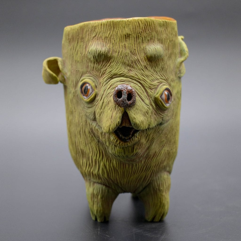 """Kelsey Owens - 2020 - Excited Pup Cup - White Stoneware - 5"""" x 5"""" x 3.5"""""""