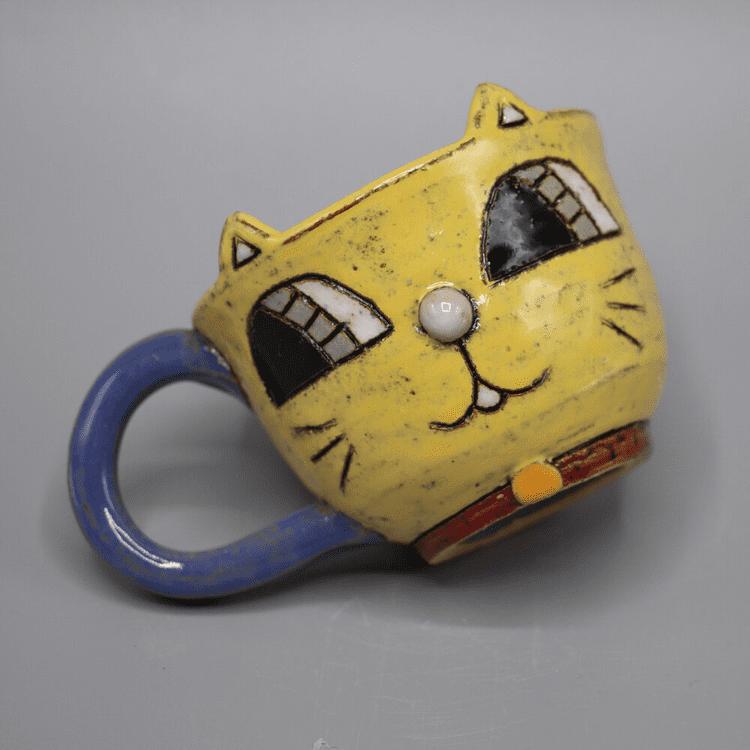 "Heidi Bekebrede - 2020 - Cat Mug - Ceramic - 2.5"" x 4.5"" x 3"""