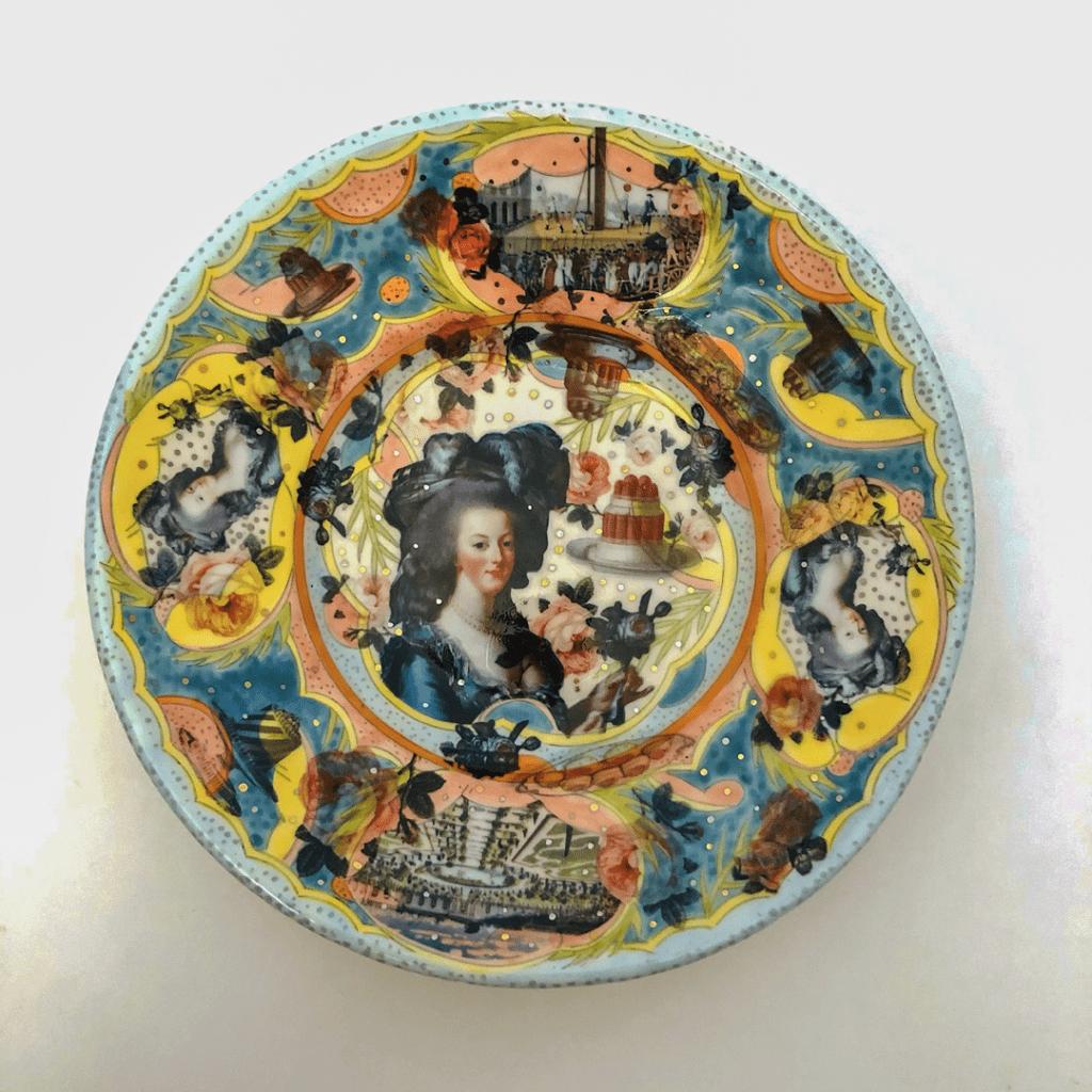 Mariko Paterson - 2020 - Marie Antoinette Plate #1 - Clay, Underglaze, Glaze, Decals, Luster