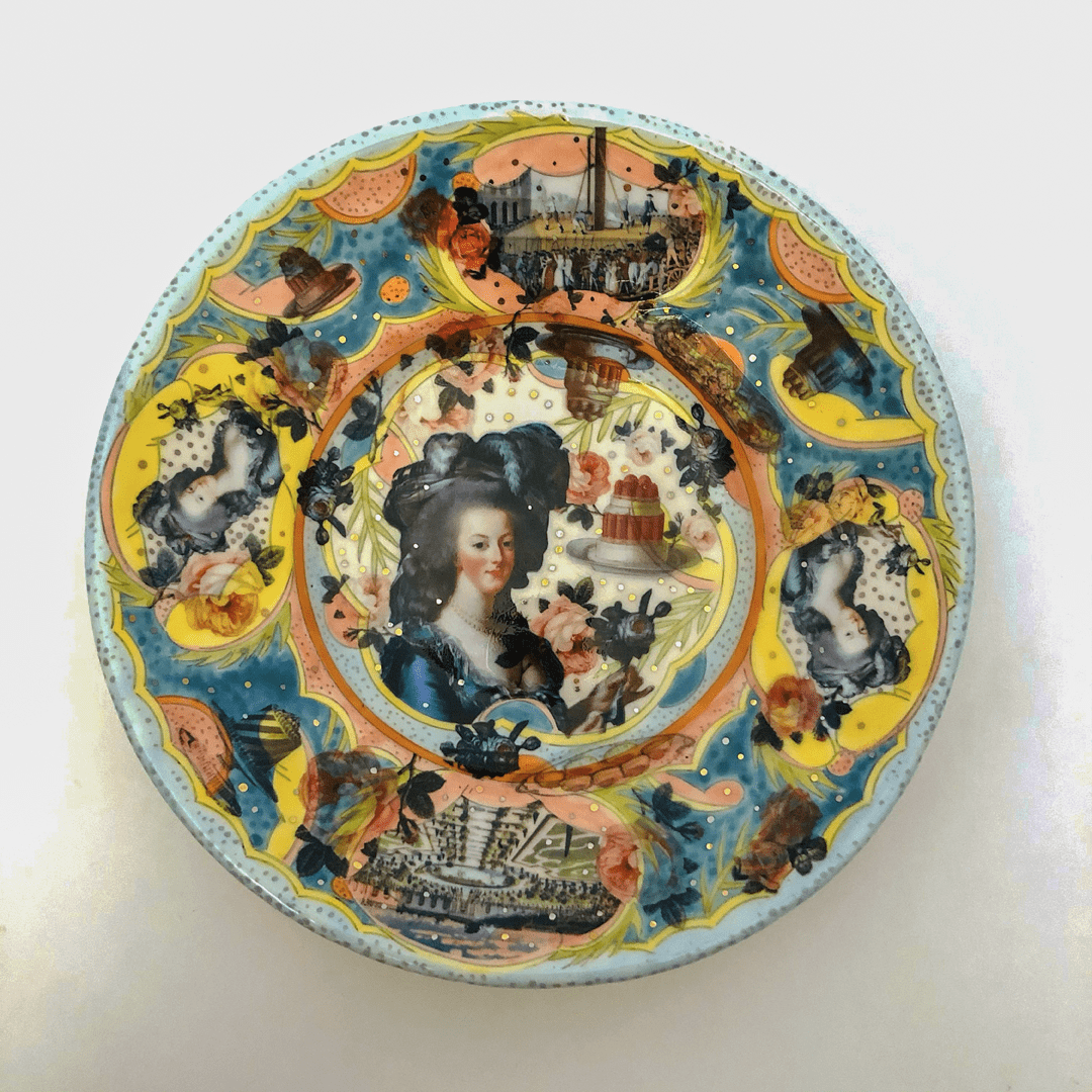 Mariko Paterson - 2020 - Marie Antoinette Plate #1 - Clay, Underglaze, Glaze, Decals, Luster